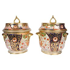 Pair of Coalport English Imari Ice Pails