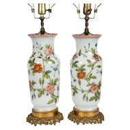 Pair of Opaline Vases Now Lamps