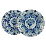 Pair of Large Blue and White Delft Chargers