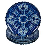 Antique Blue and White Delft Dishes a Set of Six