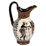 Neoclassical Pitcher Painted in Orange Black and Ochre