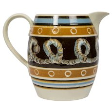 Extra Large Mochaware Pitcher w Cable Decoration England circa 1820