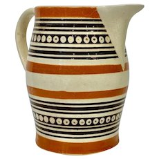 Mochaware Pitcher with Bands of light Brown England circa 1800