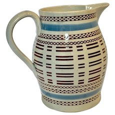 Mochaware Pitcher with Baby Blue and Black Slip Decoration, England circa 1815