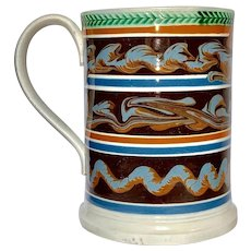 Mochaware Quart Mug Decorated with Three Lines of Cable England circa 1840