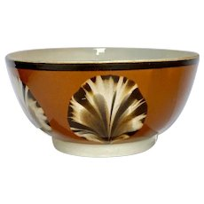 Mochaware Bowl with Dipped Fan Decoration Made in England circa 1800