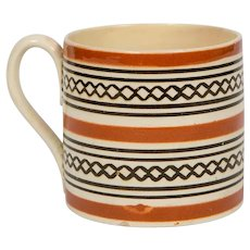 Small Brown Mochaware Mug Made in England circa 1820