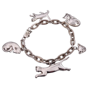 Rare Vintage Sterling Silver BOMA Cat Charm Bracelet 5 Charms Rare Find