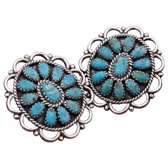 Vintage LARRY MOSES BEGAY Collectible Turquoise & Sterling Silver Pierced Earrings