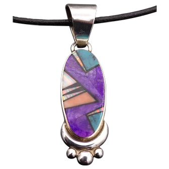 Signed Vintage NAVAJO Ervin Hoskie Sterling Silver Channel Inlay PENDANT & LEATHER CORD