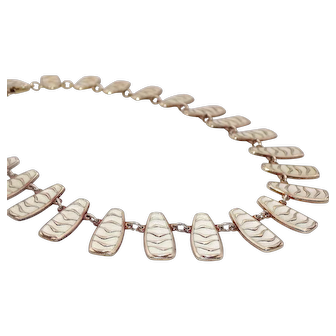 "David Andersen WAVE by Agnar Skrede ""Bubble"" White Enamel Necklace Vermeil Sterling Norway 925s"