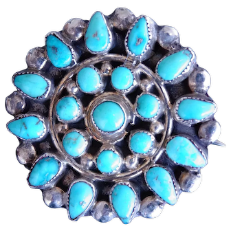 Old Southwest Style Sterling Silver & Sleeping Beauty Turquoise Petit Point Cluster Pin 1""