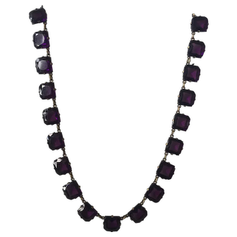 Stunning Art Deco 1930's Purple Glass  Paste Open Back Necklace