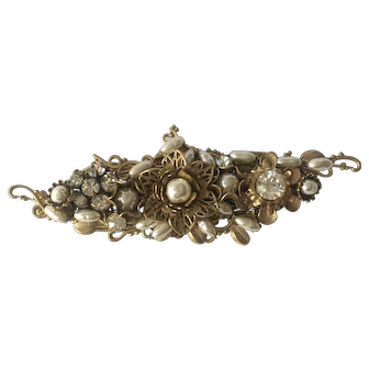 Beautiful MIRIAM HASKELL Vintage Baroque Pearl Brooch/Pin signed