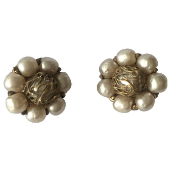Stunning Vintage Signed MIRIAM HASKELL Baroque Pearl Earrings