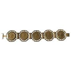 Vintage 1960's MIRIAM HASKELL signed Austrian Coin Bracelet