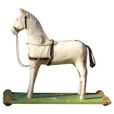 Vintage Folk Art Painted Wooden Toy Horse,