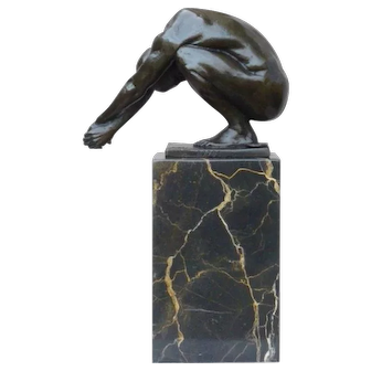 Bronze Sculpture Male Nude on Marble Base