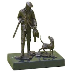 Small Bronze Sculpture of a Hunter with his Hound, Hunting Dog
