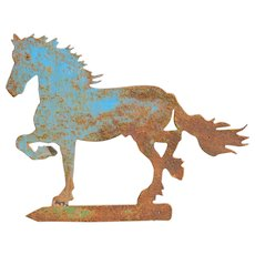 Vintage Blue Painted Iron Horse Sign, circa 1930