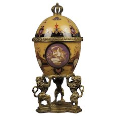 Porcelain Egg shaped Goblet in Faberge style