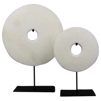 Two White Marble Chinese Bi Discs with Stands