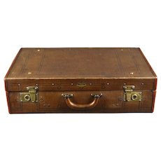 Old Vintage Suitcase with Leather and Brass Locks