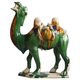Vintage Chinese Tang style Camel Sancai Glazed Terracotta Asian Art Sculpture
