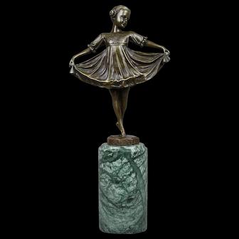 Bronze Sculpture Little Girl Dancing Art Deco Style Ferdinand Preiss