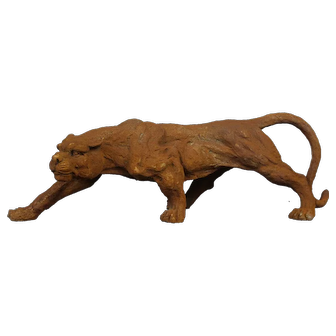 Large Panther Sculpture Crouching Tiger Figure