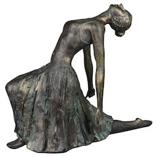 Large Bronzed Elegant Ballerina Sculpture Female Ballet Dancer