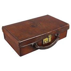 Tiny Antique Leather Suitcase or Briefcase