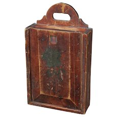19th Century Dutch Painted Wooden School Bag or Candle Box, Folk Art