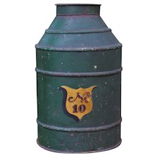 Large Antique Painted Shop Store Tin Bin