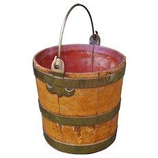 Antique Painted Wooden Bucket, Folk Art
