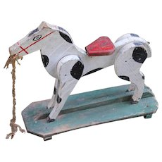 Old Painted Wooden Toy Horse, Folk Art