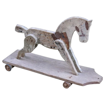 Weathered French Wooden Toy Horse, Folk Art