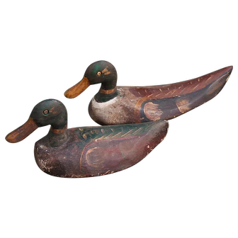 Two Painted Duck Hunting Decoys, circa 1940