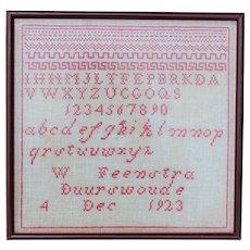 Dutch Folk Art Needlework Sampler, 1923