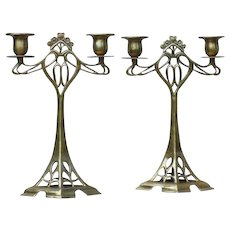 A Pair of Art Nouveau Style Candlesticks Candle Holders