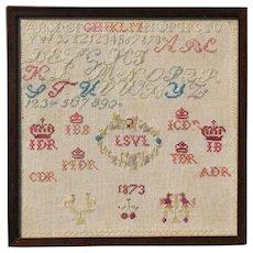 Antique Framed Needlework Sampler 1873, folk art