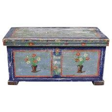 Primitive Folk Art Bridal Box Blue Painted Wooden Casket, Germany or Austria