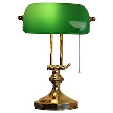 Solid Brass Bankers Lamp with Green Glass Shade