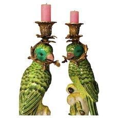 Vintage Porcelain Parrot Figurine Candlesticks