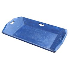 Antique Folk Art Blue Painted Apple Tray with Handles