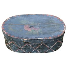Antique Folk Art Painted Bentwood Bridal Box