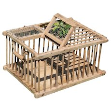 Antique French wooden Chicken Coop Poultry Run Cage, France Folk Art