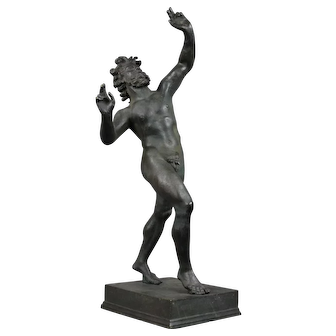 Bronze Grand Tour Sculpture of The Dancing Faun of Pompeï, end 19th C.