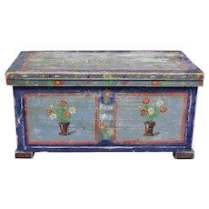 Folk Art Painted Bridal Box, Germany or Austria 1917