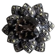 Silver brooch marcasites and topaz